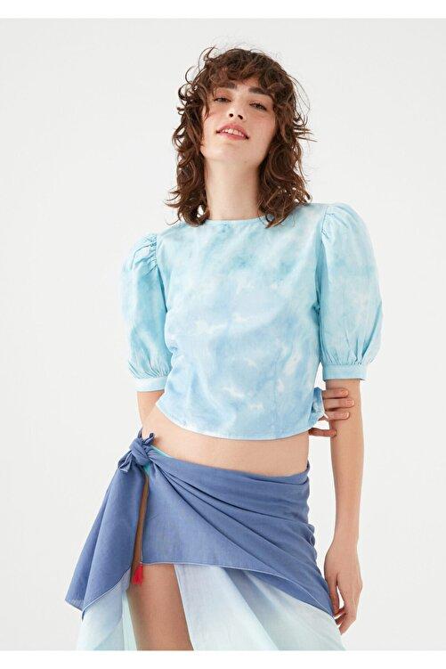 Mavi Kadın terranean Balon Kollu Batik Bluz 122867-35158 1