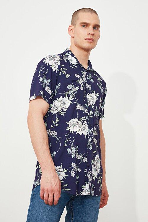 TRENDYOL MAN Lacivert Erkek Regular Fit Çiçek Gömlek Yaka Kısa Kol Gömlek TMNSS20GO0210 2