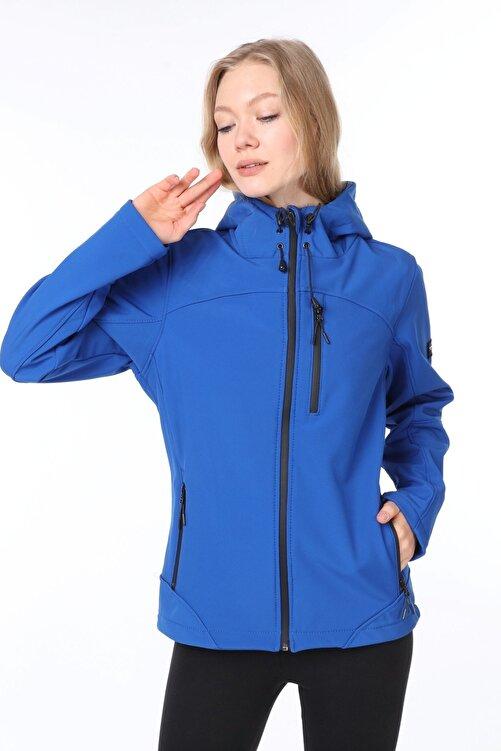 GHASSY CO. Kadın Su Rüzgar Geçirmez Softshell Mavi Spor Mont 2