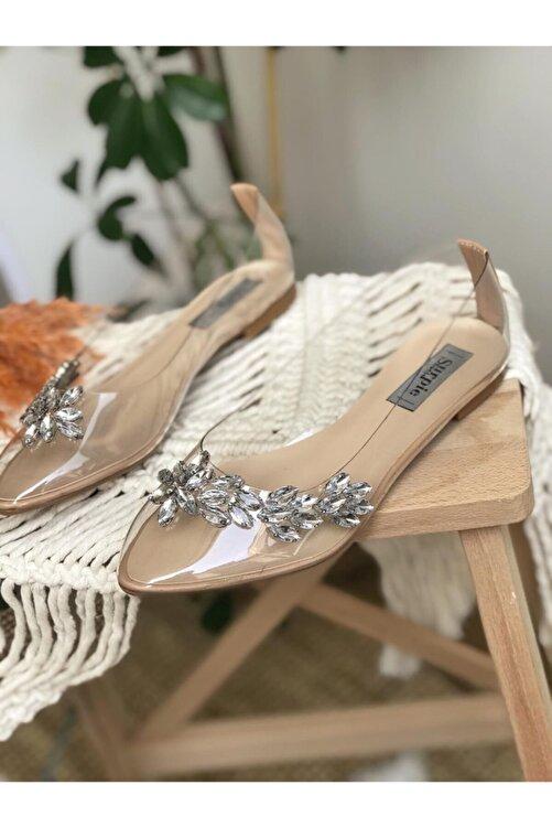 Surpie Shoes Kadın Şeffaf Nude Taş Detaylı Babet 1