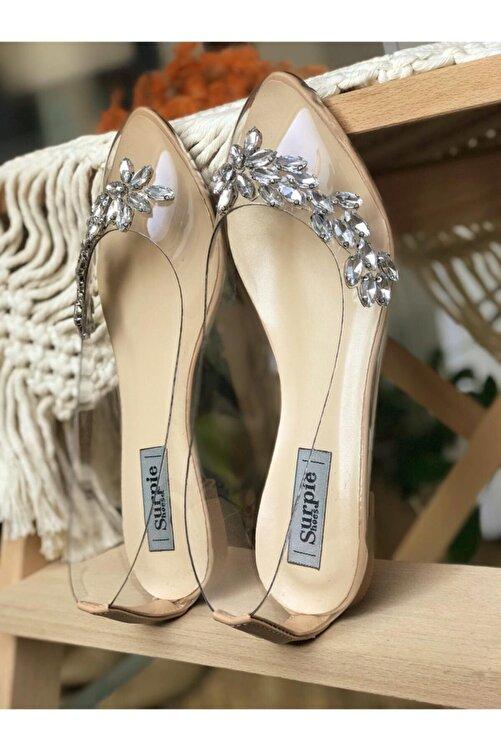 Surpie Shoes Kadın Şeffaf Nude Taş Detaylı Babet 2