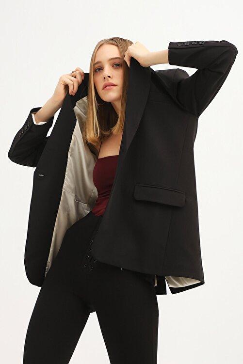 Quzu Kadın Siyah Tek Düğmeli Blazer Ceket 1