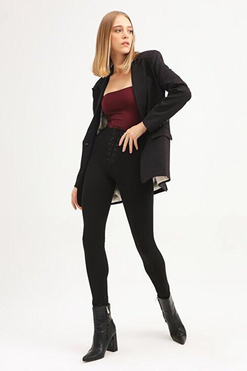 Quzu Kadın Siyah Tek Düğmeli Blazer Ceket 2