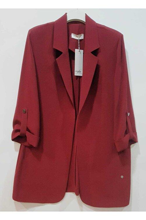 Ceylinn Kadın Bordo Düz Blazer Ceket 1