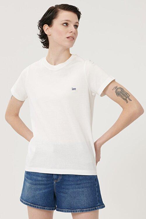 Lee Kadın Kırık Beyaz Kısa Kollu %100 Pamuk Logolu Sıfır Yaka Tişört 2