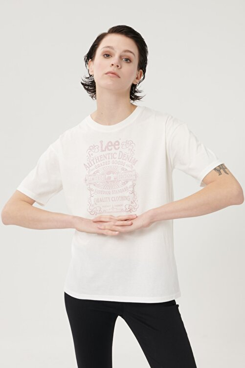 Lee Kadın Kırık Beyaz Kısa Kollu %100 Pamuk Grafik Desenli Sıfır Yaka Tişört 2