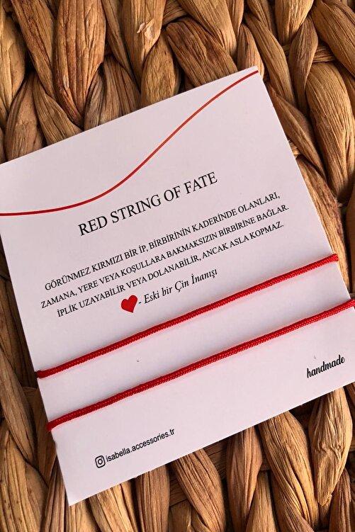 İsabella Accessories Kırmızı  Red String Ip Çift - Sevgili Bilekliği 1