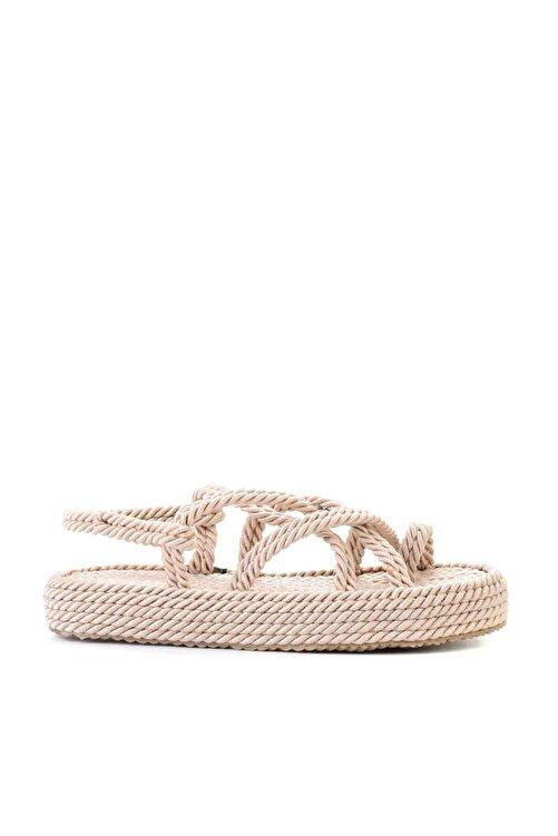 Bambi Bej Kadın Hasır Sandalet K05787020476 2
