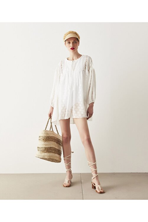 İpekyol Kadın Beyaz Dantel Mixli Tunik 2