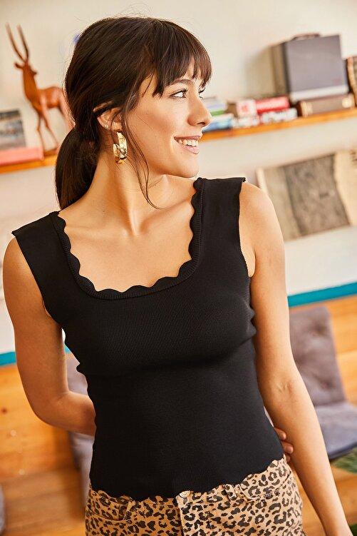 Olalook Kadın Siyah Yaka Detaylı Bel Üstü Triko Bluz BLZ-19001450 2