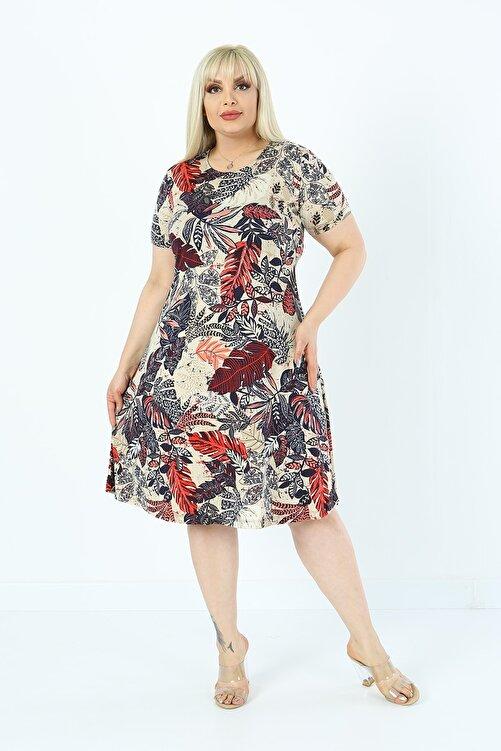 1fazlası Kadın Büyük Beden Çiçekli Yaprak Desenli Viskon Elbise 1