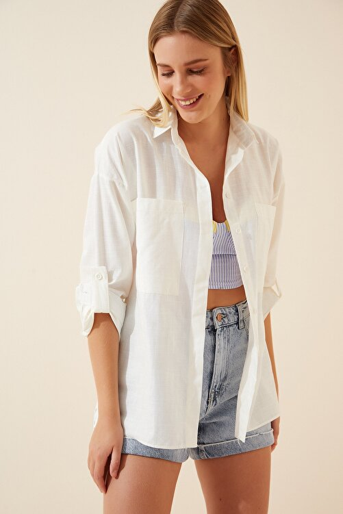 Happiness İst. Kadın Kırık Beyaz Cepli Keten Viskon Hafif Oversize Gömlek US00535 1