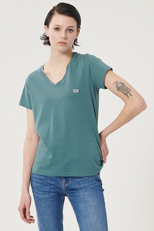 Lee Kadın Sıcak Gri Kısa Kollu %100 Pamuk Logolu Sıfır Yaka Tişört 2