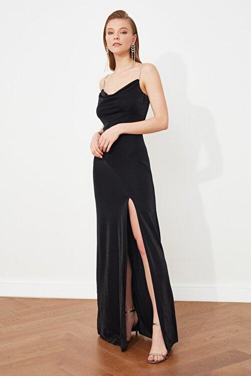 TRENDYOLMİLLA Siyah Taş  Askı Detaylı Abiye Elbise TPRSS19UT0102 2