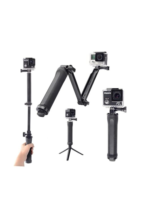 BUM Gopro Ve Aksiyon Kamera 3 Way Çok Yönlü Monopod Tripod 1
