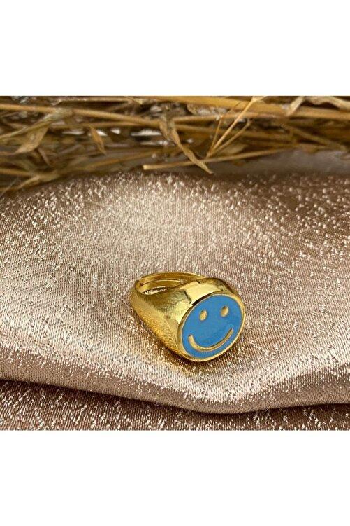 Markiz Takı Kadın Mavi Ayarlanabilir Smile Yüzük 1