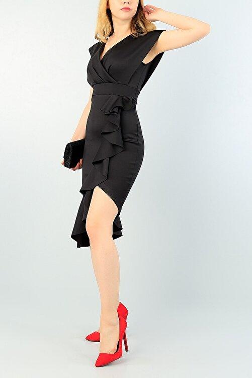lovebox Yırtmaç Ve Volan Detay Siyah Abiye Elbise Siyah Nişan Elbisesi 64473 095 2