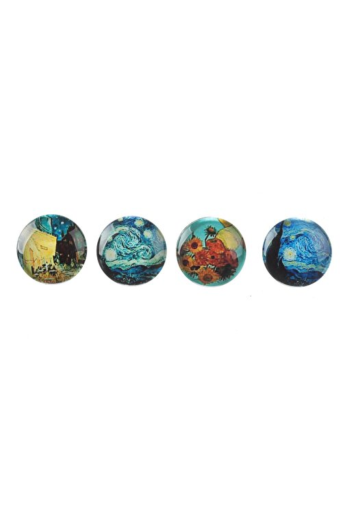 Vox Art Pano Mıknatısı - Buzdolabı Cam Magnet Seti - 4 Adet Van Gogh 1