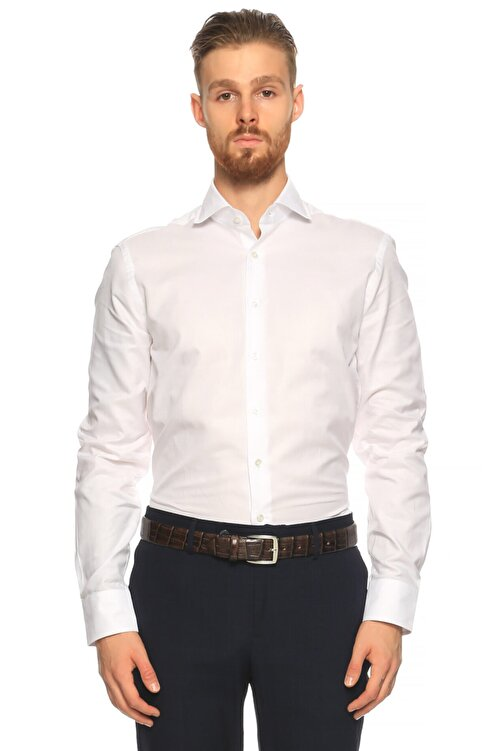 Hackett Erkek Beyaz Düz Gömlek 1