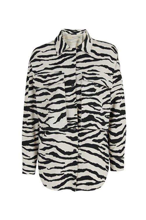 Quzu Zebra Desenli Gabardin Gömlek Siyah 1