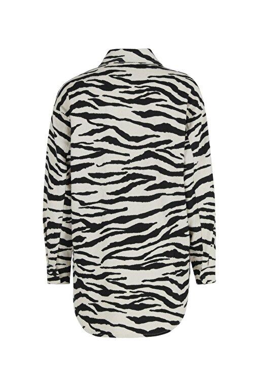 Quzu Zebra Desenli Gabardin Gömlek Siyah 2