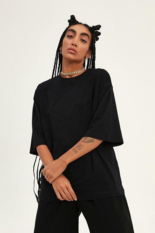 Quzu Truvakar Kol Basic Oversize Tişört Siyah 1