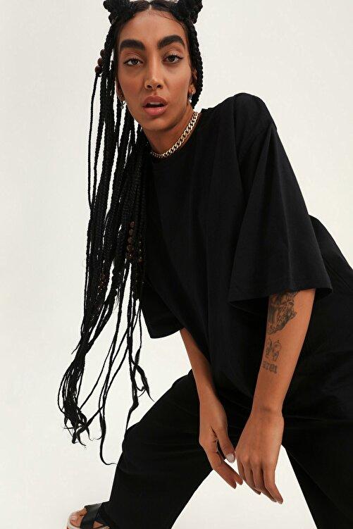 Quzu Truvakar Kol Basic Oversize Tişört Siyah 2