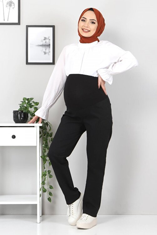 Tesettür Dünyası Siyah Hamile Kot Pantolonu Tsd22052 1
