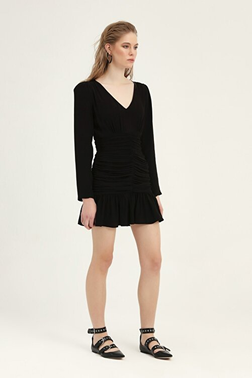 Quzu Kadın Balon Kol Gipeli Elbise Siyah 2