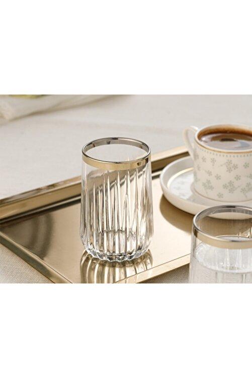 English Home Puget Cam 6'lı Kahve Yanı Su Bardağı 135 Ml Gold 2