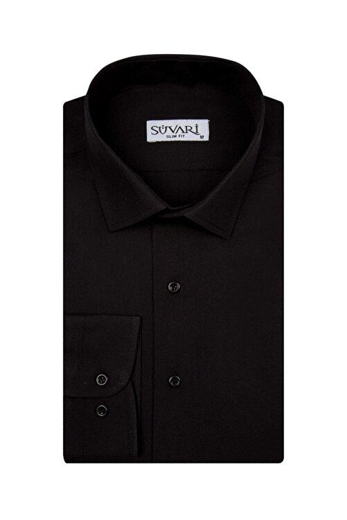 SÜVARİ Slim Fit Siyah Düz Erkek Gömlek 1