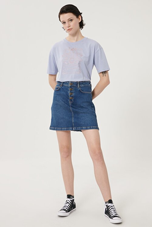 Lee Kadın Koyu Mavi Regular Fit Denim Kot Etek 1