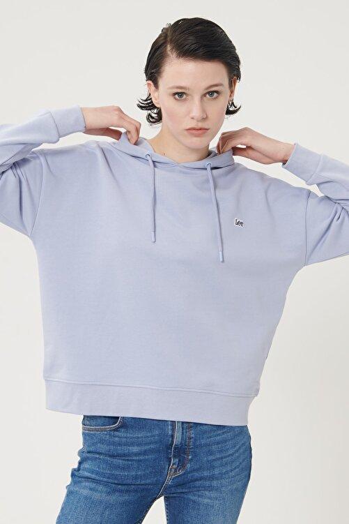 Lee Kadın Açık Mor %100 Pamuk Kapüşonlu Sweatshirt 2