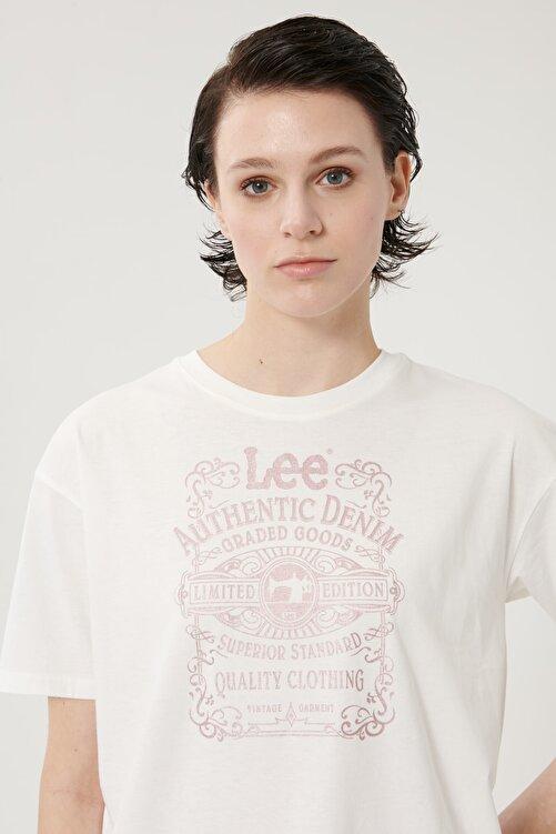Lee Kadın Kırık Beyaz Kısa Kollu %100 Pamuk Grafik Desenli Sıfır Yaka Tişört 1