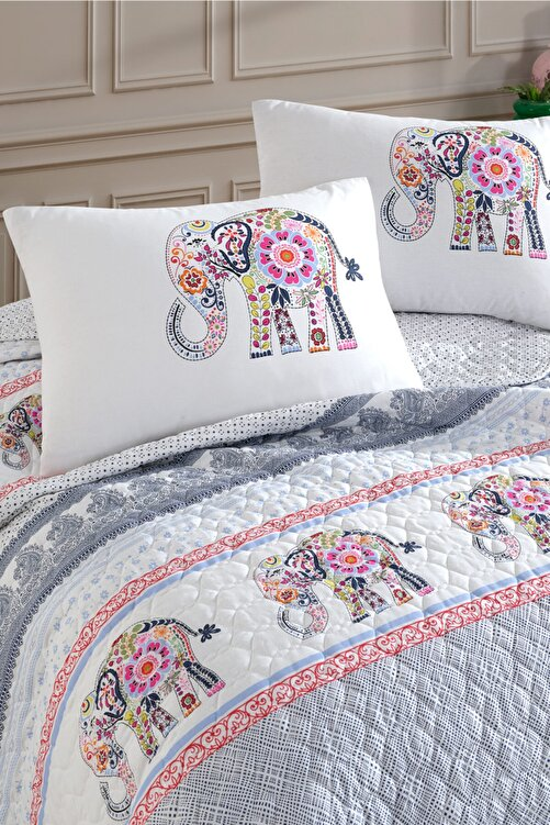 Cotton Touch Beyaz Gloria Çift Kişilik Kapitone Yatak Örtüsü Takımı 2