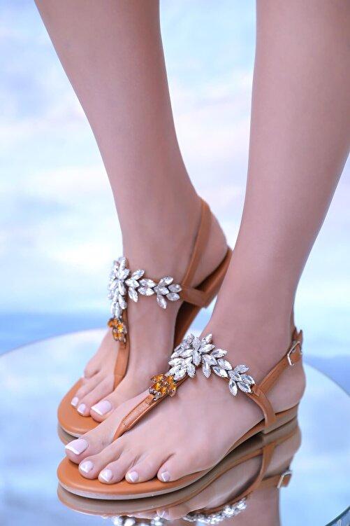 Oblavion Kadın Taba Hakiki Deri Günlük Taşlı Sandalet 2