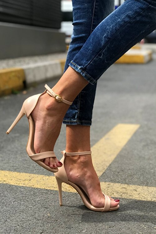 trendytopuk Kadın Nude Tek Bant Topuklu Sandalet 1
