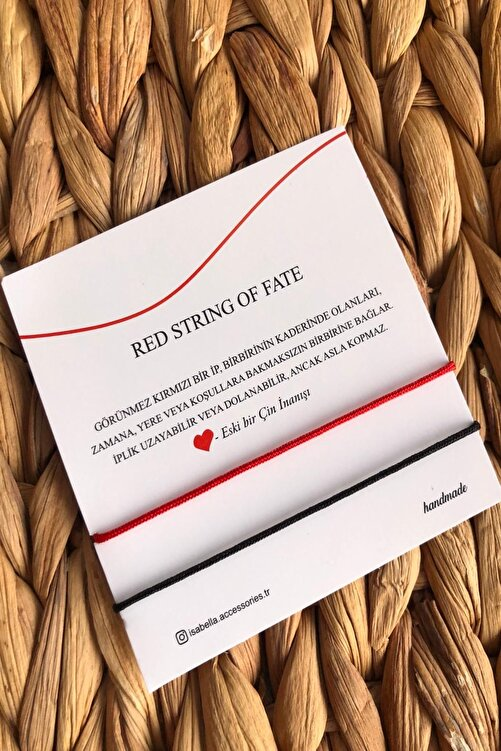 İsabella Accessories Red String Ip Çift - Sevgili Bilekliği Kırmızı Siyah 1