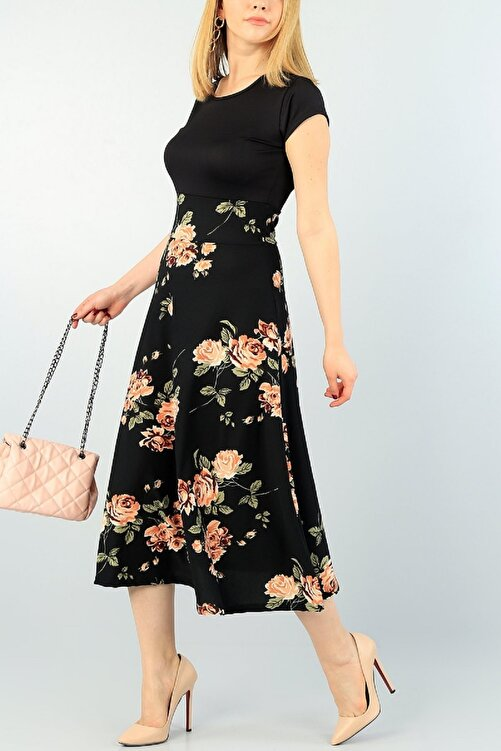 Butik Şımarık Kadın Siyah Büyük Beden Tek Parça Krep Kumaş Eteği Gül Desenli Elbise 1