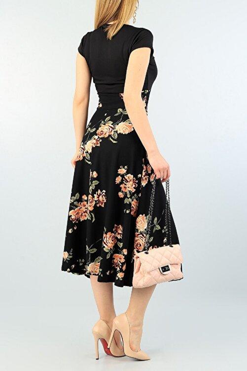 Butik Şımarık Kadın Siyah Büyük Beden Tek Parça Krep Kumaş Eteği Gül Desenli Elbise 2