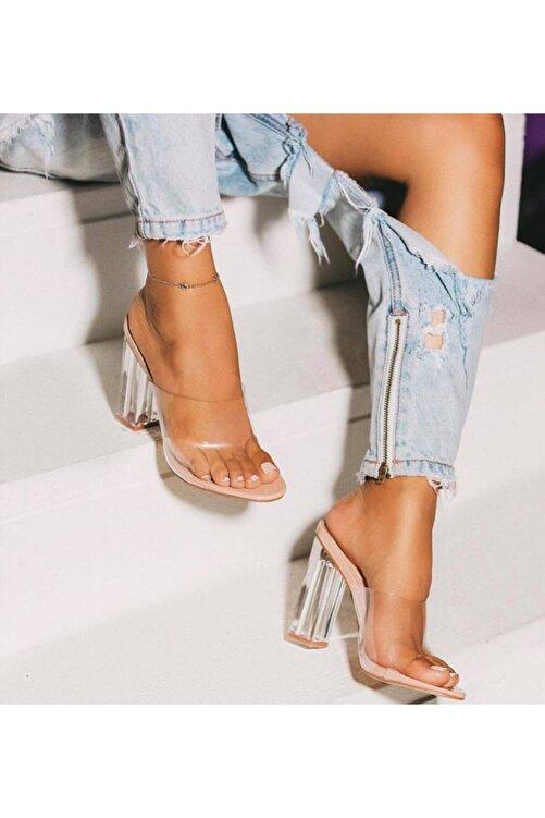 TrendyAnka Kadın Nude Ten Bej 10cm Şeffaf Topuklu Yuvarlak Burunlu Stiletto Ayakkabı Terlik 1