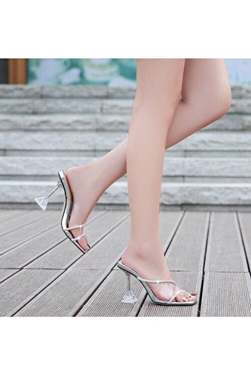 TrendyAnka Kadın Gümüş Nude Beyaz Taba 8cm Şeffaf Topuklu Taşlı Küt Kare Burunlu Stiletto Ayakkabı Terlik 2