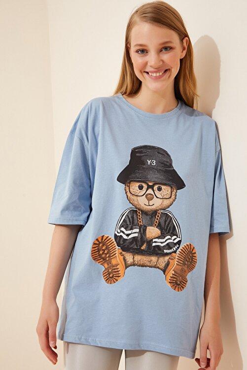 Happiness İst. Kadın Gök Mavi Baskılı Oversize Uzun Penye T-shirt ZV00105 1