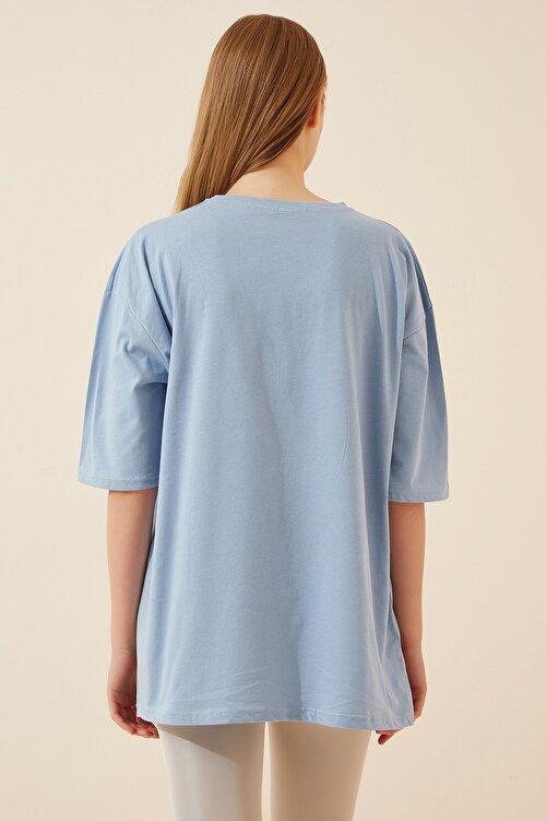 Happiness İst. Kadın Gök Mavi Baskılı Oversize Uzun Penye T-shirt ZV00105 2