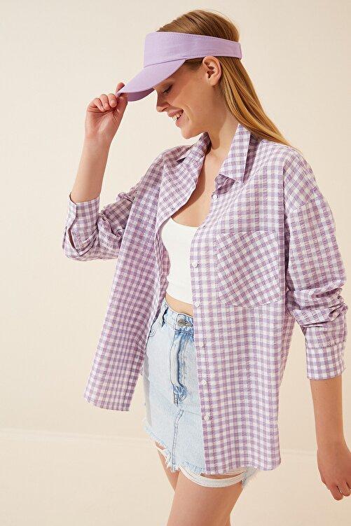 Happiness İst. Kadın Açık Lila Kareli Hafif Oversize Gömlek DD00898 1