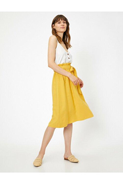 Koton Kadın Sarı Beli Baglamali Etek 0KAK72541UW 2