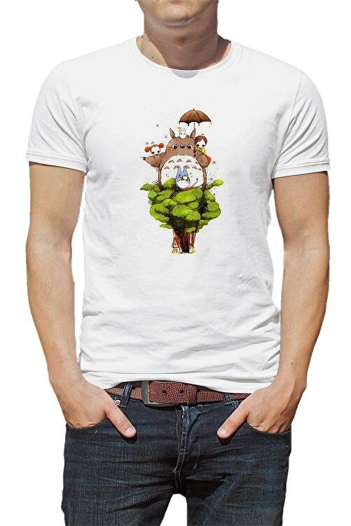 QIVI My Neighbor Komşum Totoro Baskılı Beyaz Erkek Örme Tshirt 1