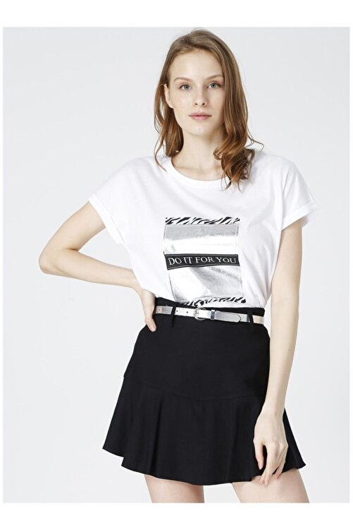 Fabrika Kadın Beyaz Baskılı Kısa Kol T-shirt 1