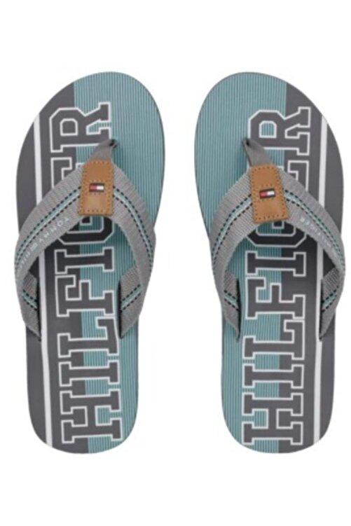 Tommy Hilfiger Gri-Turkuaz Stripe Beach Sandalet 2