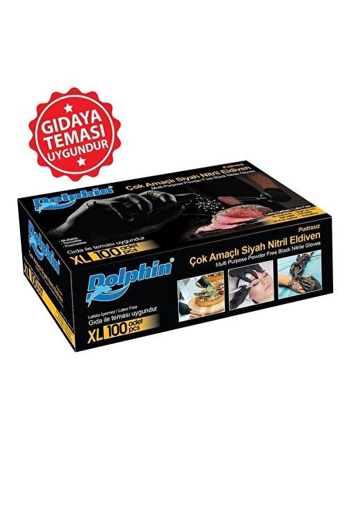 Dolphin Çok Amaçlı Siyah Nitril Eldiven (XL) 100lü (Gıdaya Uygun) 1